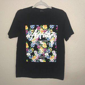 Stussy Black Floral Print Graphic Short Sleeve Tee